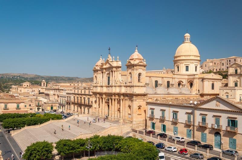 Noto katedra jest Rzymskokatolickim katedrą w Noto w Sicily fotografia royalty free