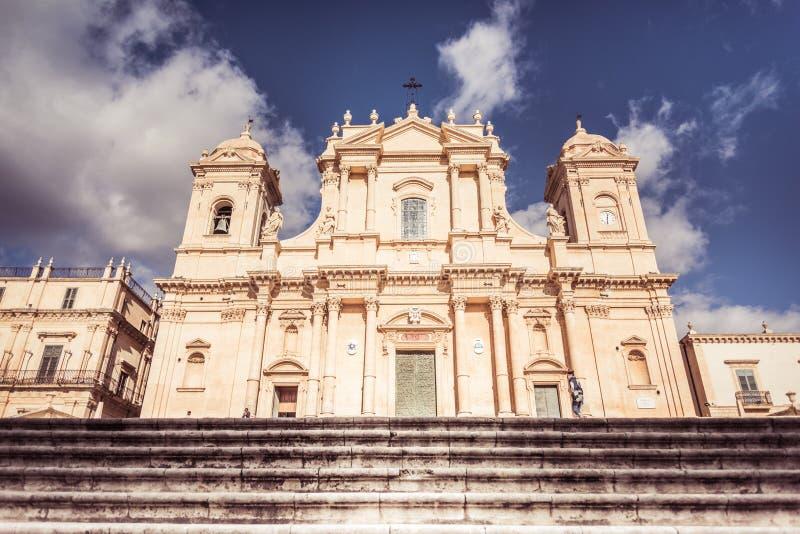 Noto, Sicily, Italy / December 2018: Basilica Minore di San Nicolò in Noto, Noto Cathedral is a Roman Catholic cathedral in Noto stock photos