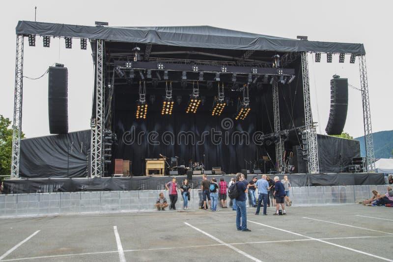 Notodden-Blau Festival, Festivalstadium auf dem Pier stockfoto