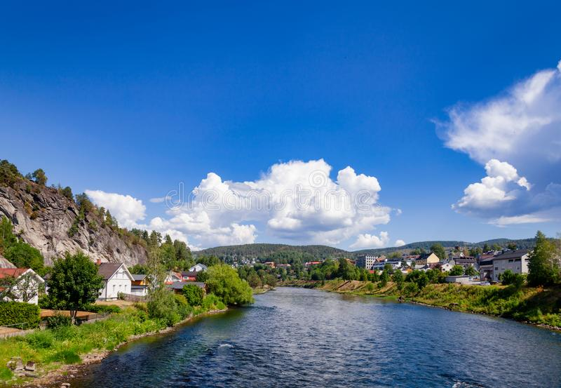 Notodden cityscape UNESCO Heritage Site Telemark Norway. Notodden cityscape with Tinn river on a bright summer day. Notodden is a part of UNESCO Rjukan-Notodden stock image
