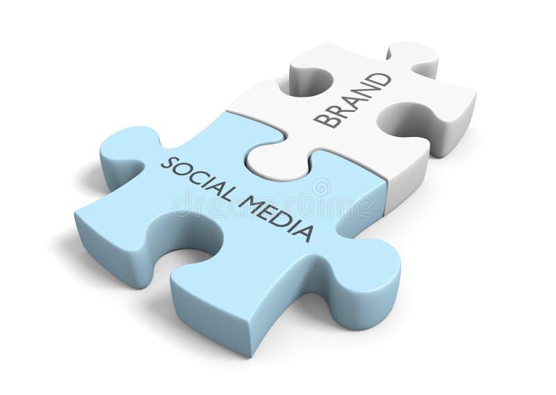 Notoriété de la marque par les connexions sociales réussies de mise en réseau de media illustration libre de droits