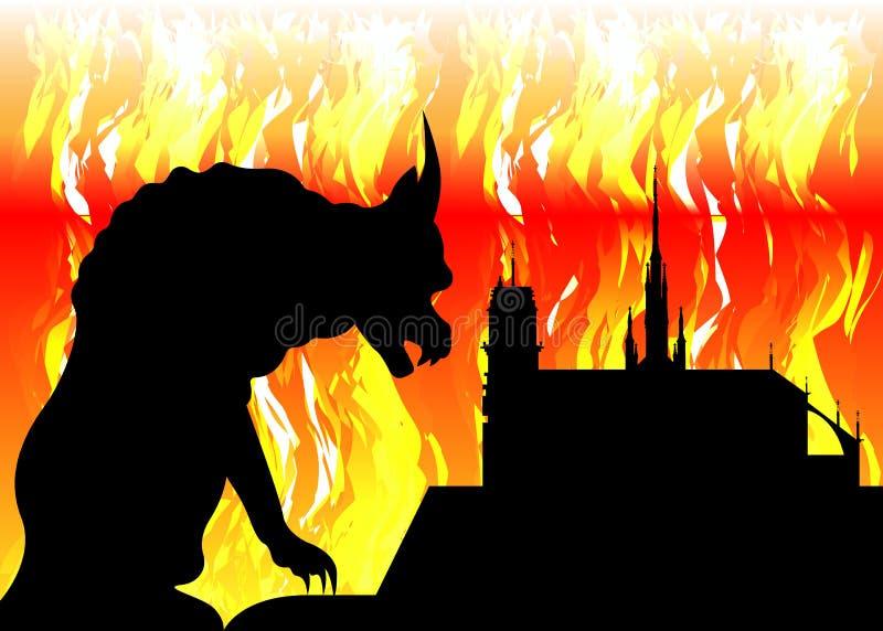 Notre κυρία de Παρίσι και gargoyle στην πυρκαγιά, τη Γαλλία, τα σύμβολα πόλεων  ελεύθερη απεικόνιση δικαιώματος