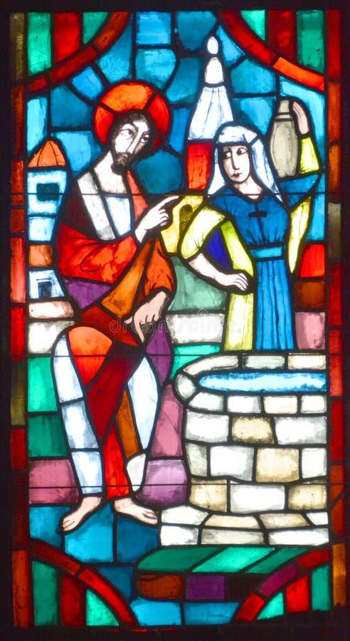Notre贵妇人du盖帽污迹玻璃窗大教堂  库存照片