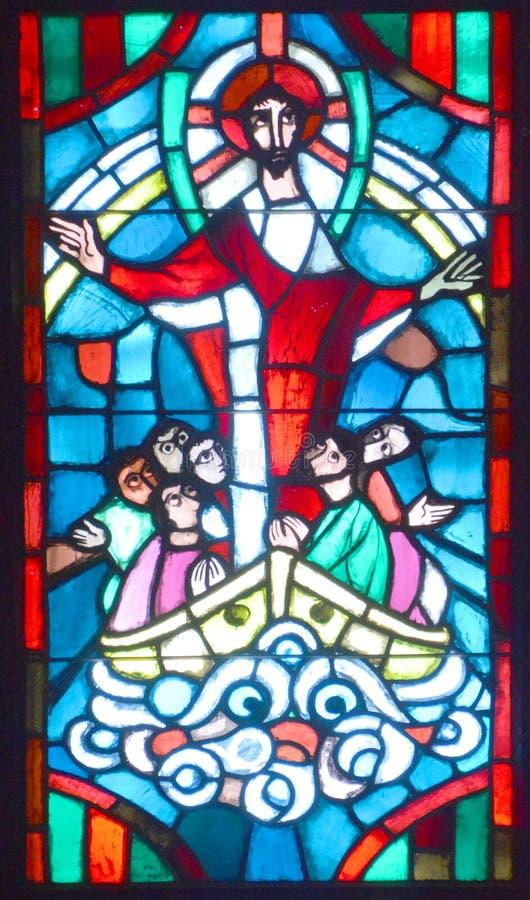 Notre贵妇人du盖帽污迹玻璃窗大教堂  库存图片