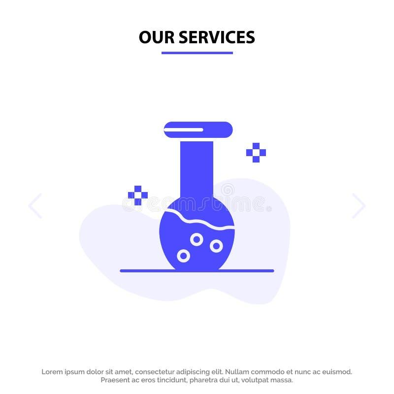 Notre analyse de services, biochimie, biologie, calibre solide de carte de Web d'icône de Glyph de chimie illustration de vecteur