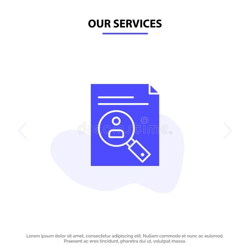 Notre application de services, presse-papiers, programme d'études, cv, résumé, calibre solide de carte de Web d'icône de Glyph de illustration de vecteur