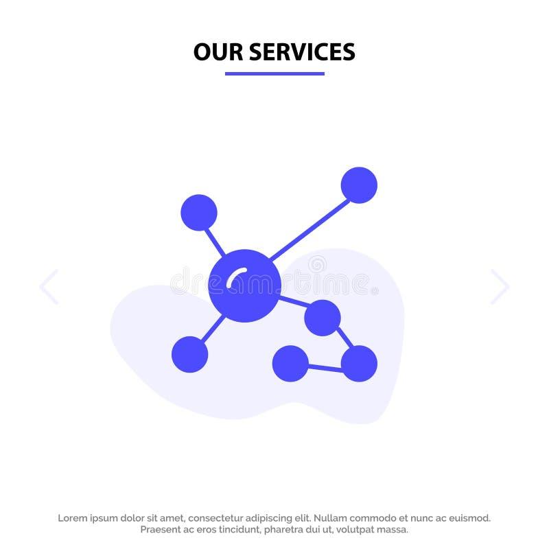 Notre atome de services, biochimie, biologie, ADN, calibre solide génétique de carte de Web d'icône de Glyph illustration stock