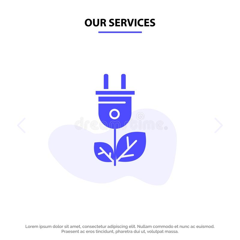 Notre biomasse de services, énergie, prise, calibre solide de carte de Web d'icône de Glyph de puissance illustration stock