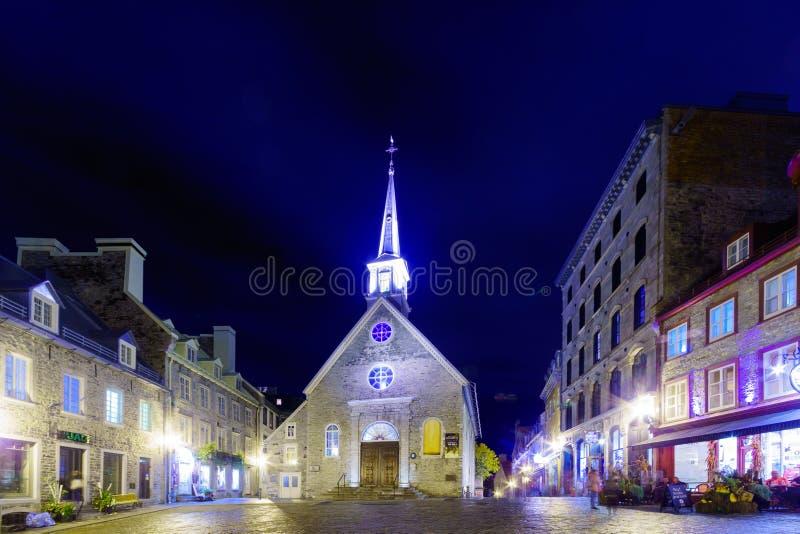 Notre-Dama-DES-Victoires iglesia, la ciudad de Quebec imágenes de archivo libres de regalías