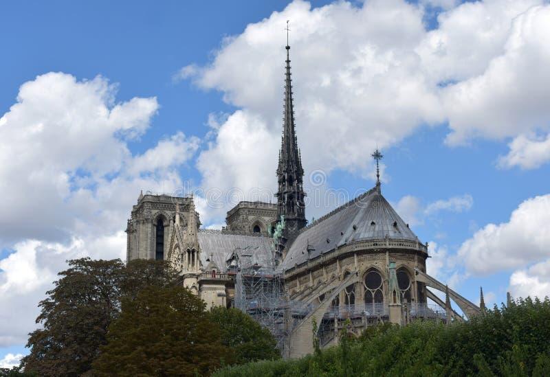 Notre Damae iglica, los angeles Fleche i drewniani dachy przed ogieniem, Paris france obraz royalty free