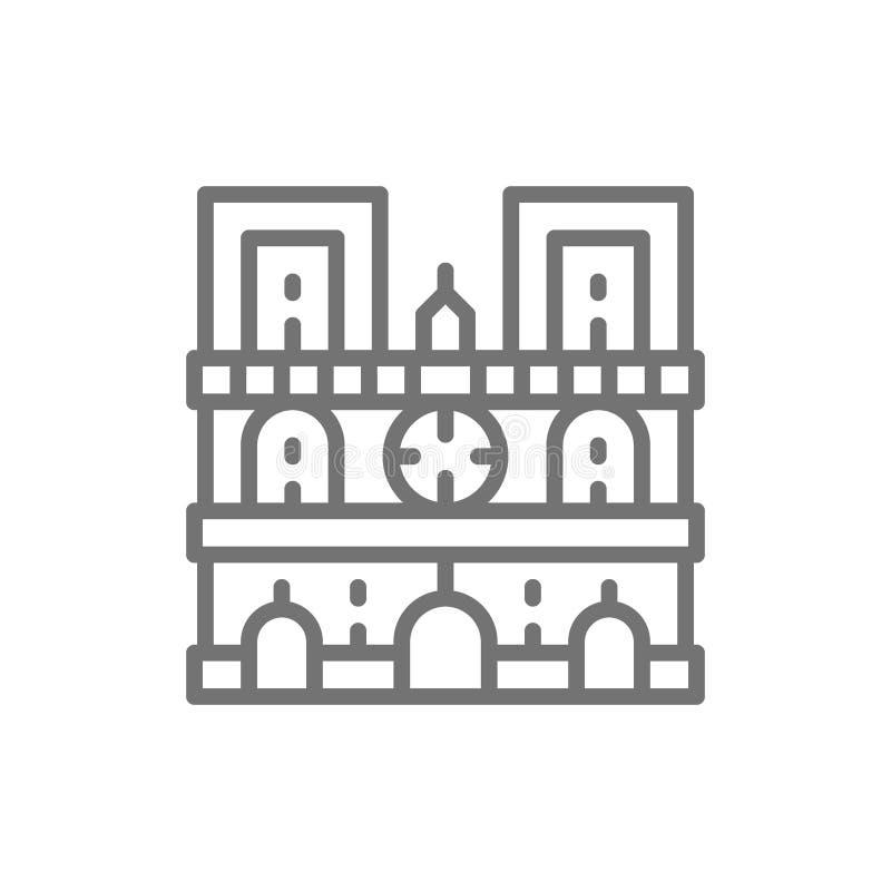 Notre Damae katedra, punkt zwrotny Paryż, Francja kreskowa ikona ilustracji