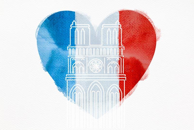 Notre Damae katedra z Francusk? flag? w formie serca ilustracja wektor