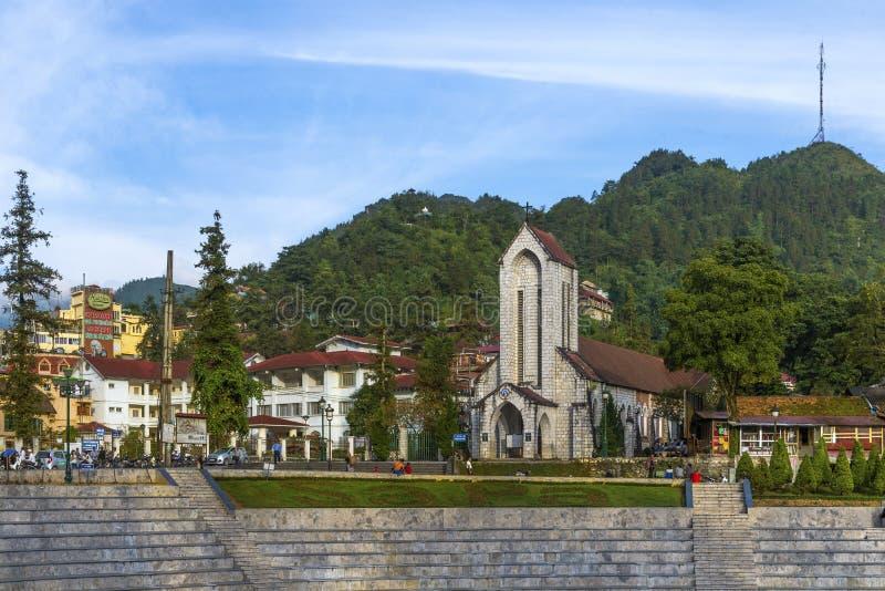 Notre Damae Katedralny Katolicki Święty różaniec w Sapa Wietnam zdjęcia royalty free
