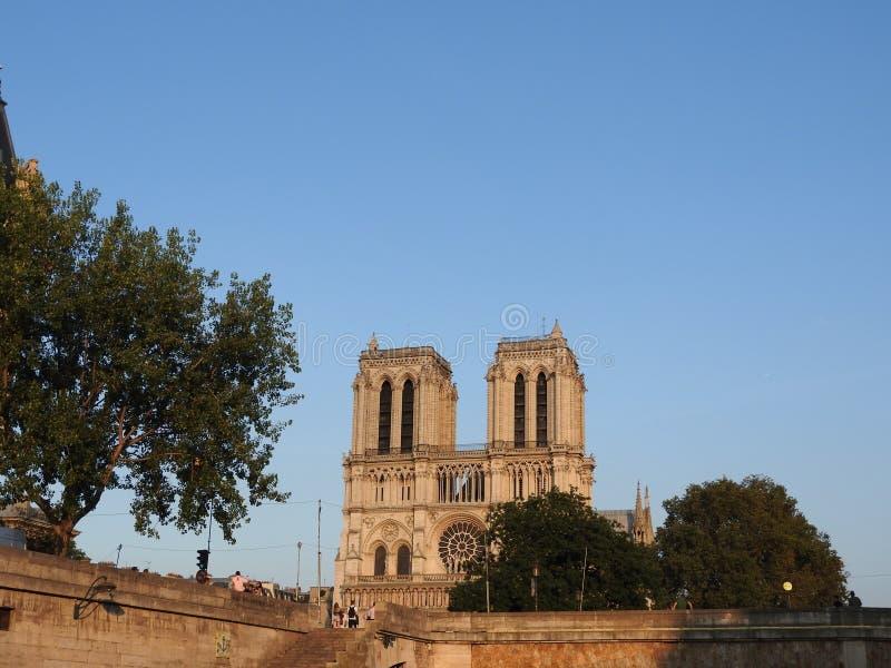 Notre Damae piękna katedra w Paryż Widok od rzecznego wontonu, Francja zdjęcie stock