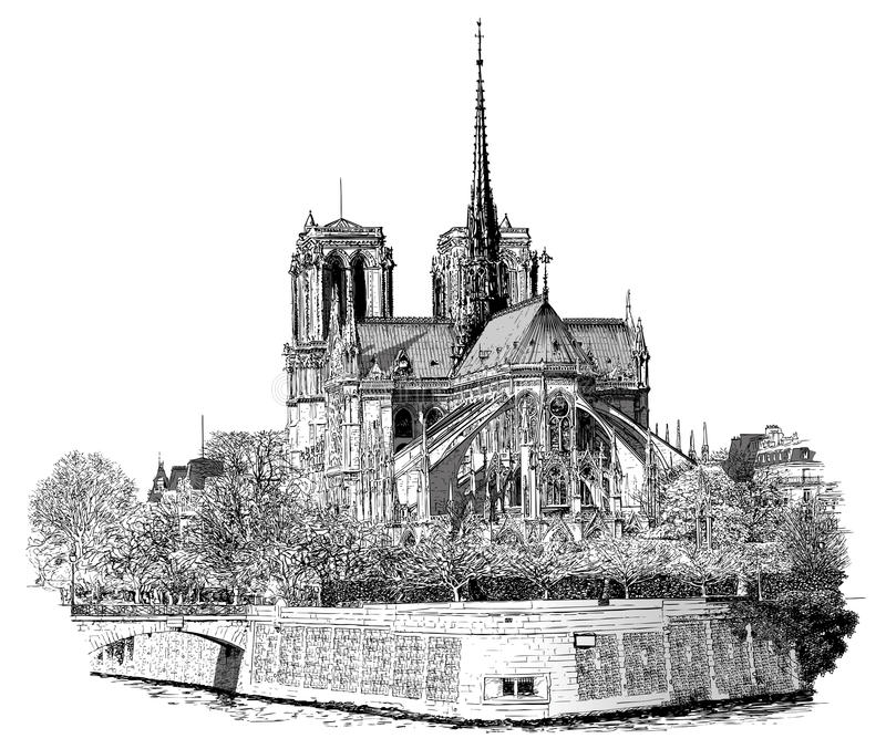 Notre Damae w Paryż ilustracji