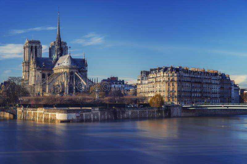 Notre Dame令人惊讶的看法在日落,巴黎,法国期间的 库存图片