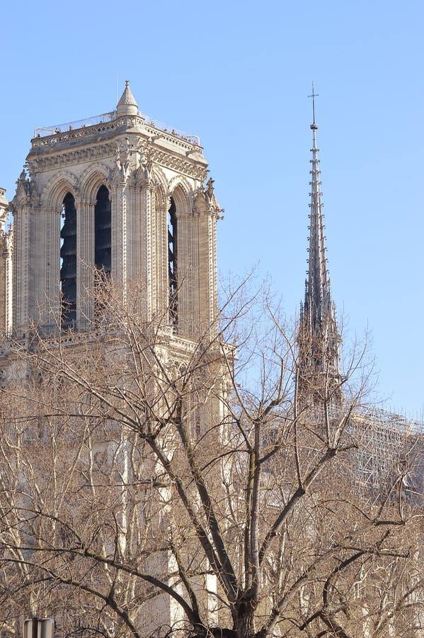 Notre Dame塔和尖顶  图库摄影