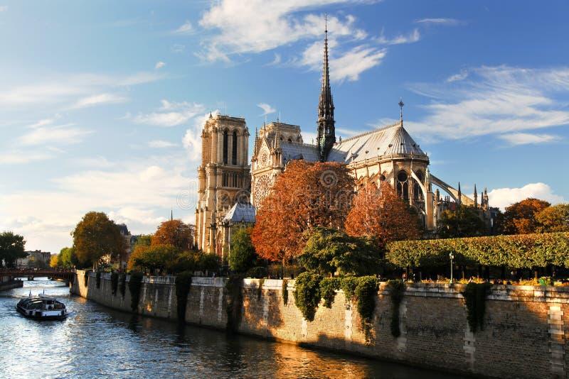 Notre Dame大教堂在巴黎,法国 库存照片