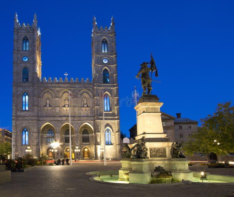 Notre Dame大教堂在晚上,蒙特利尔 图库摄影