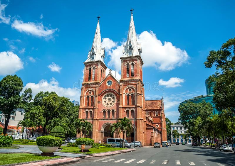 Notre Dame大教堂在西贡胡志明市 免版税库存图片