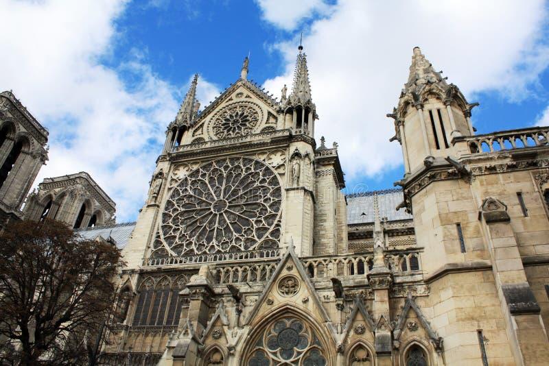 Notre Dame有面貌古怪的人的巴黎法国 免版税库存图片