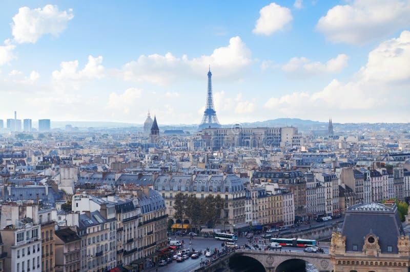 巴黎从Notre Dame的地平线视图 免版税库存图片