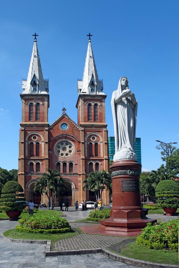 Notre Dame西贡大教堂在胡志明市,越南 免版税库存照片