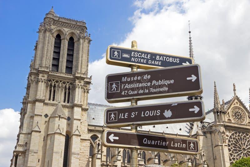 Notre Dame路标 库存图片
