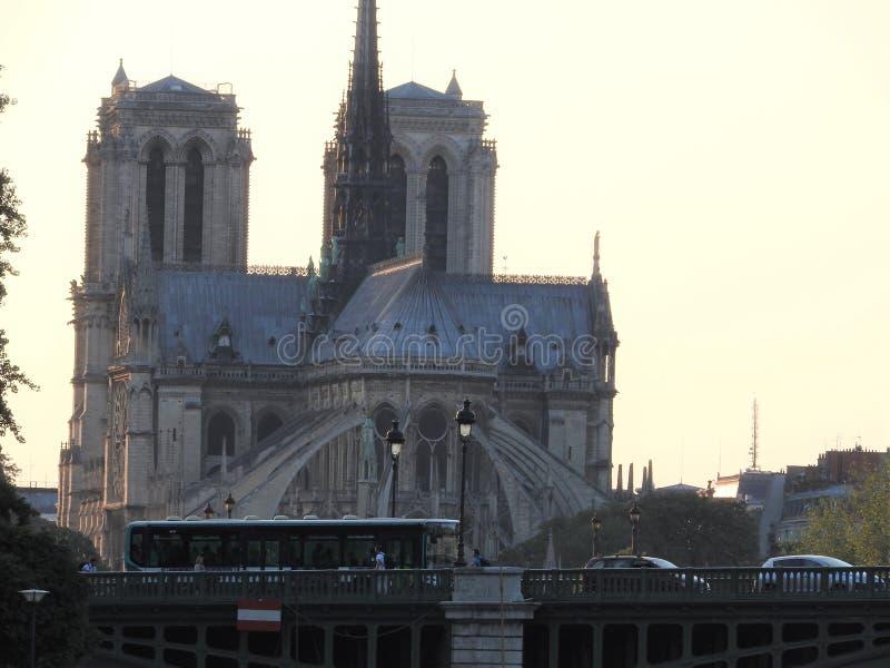 Notre Dame,最美丽的大教堂在巴黎 从河塞纳河,法国的看法 库存图片