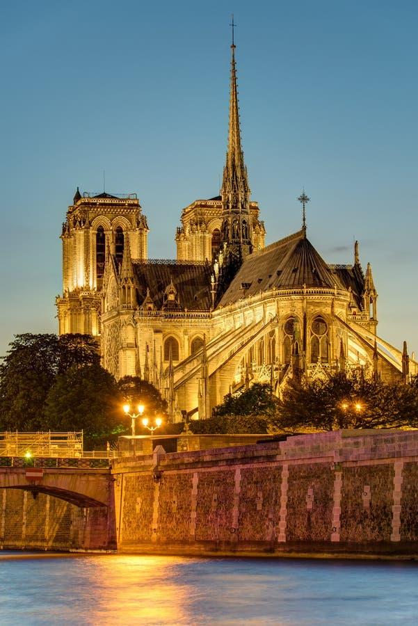 Notre Dame στο Παρίσι μετά από το ηλιοβασίλεμα στοκ εικόνες με δικαίωμα ελεύθερης χρήσης