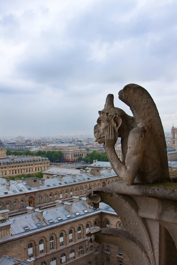 Notre Dame av Paris, Gargoyle royaltyfri bild
