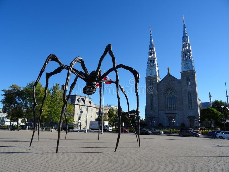 Notre Dame Basilica d'Ottawa avec le ` de maman de ` d'araignée images stock