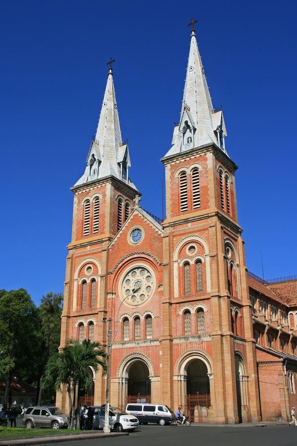 Notre-Dame Basilica - Ho Chi Minh City - Vietnam. The facade of Notre-Dame Basilica in Ho Chi Minh City, Vietnam. La façade de la basilique Notre-Dame à Ho stock photo
