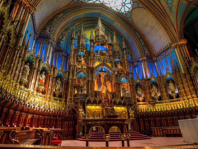 Notre Dame Basilica, interior, Montreal, control de calidad, Canad? imagen de archivo libre de regalías