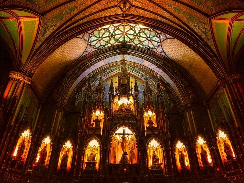 Notre Dame Basilica Montreal image stock