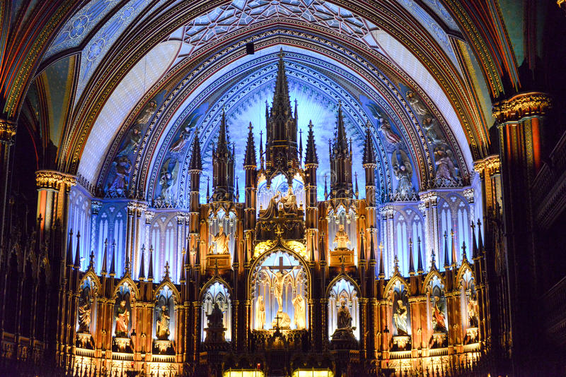 Notre Dame Basilica - Montreal, Canada. Interior of Notre-Dame basilica cathedral and its altar in Montreal, Canada. The church's Gothic Revival architecture is stock photos
