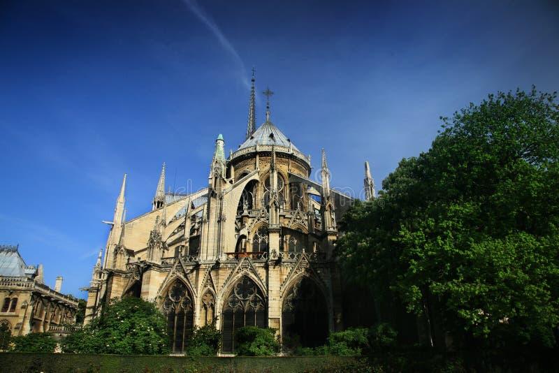 Notre Dame basilica in Paris stock images