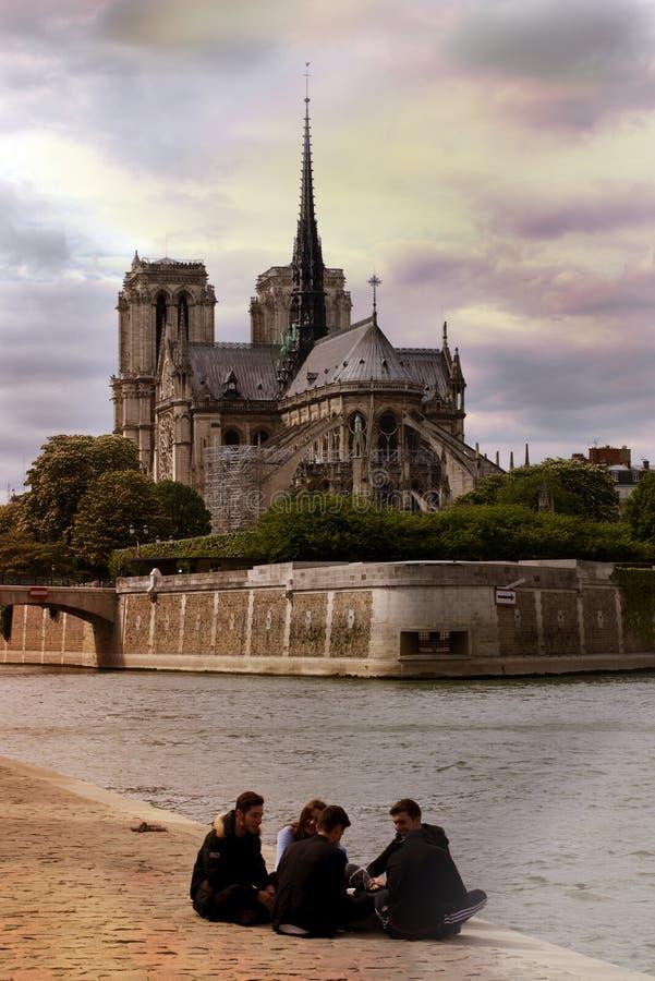 Notre Dame Cathedral av vår dam av Paris, Frankrike royaltyfria foton