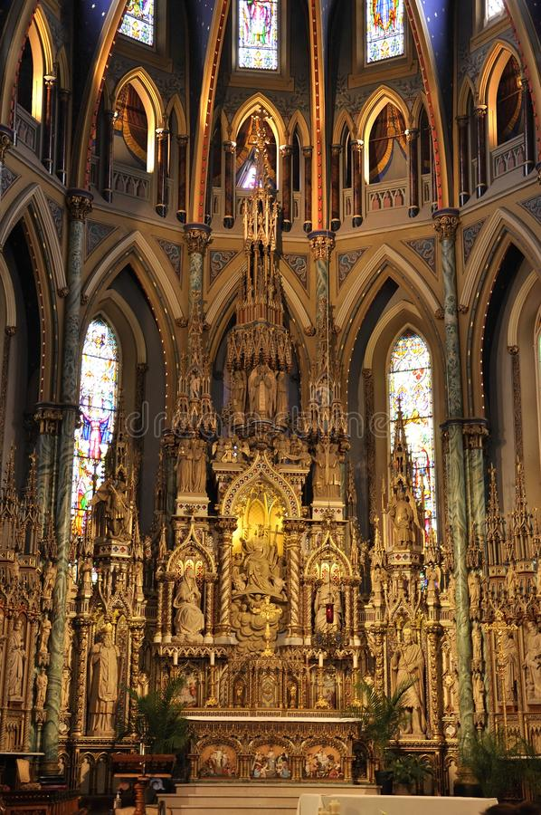 Notre - Dame Cathedral Basilica building interior from Downtown Ottawa in Canada royalty free stock photos