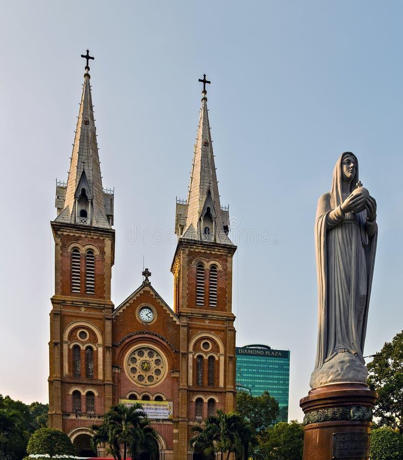 Notre-Dame Cathedral Basilica of Saigon Ho Chi Minh City, Virgin Mary statue Vietnam stock photos