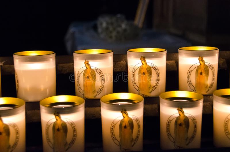 Notre Dame Cathedral Candles arkivfoton