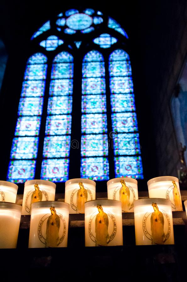 Notre Dame Cathedral Candles photos stock