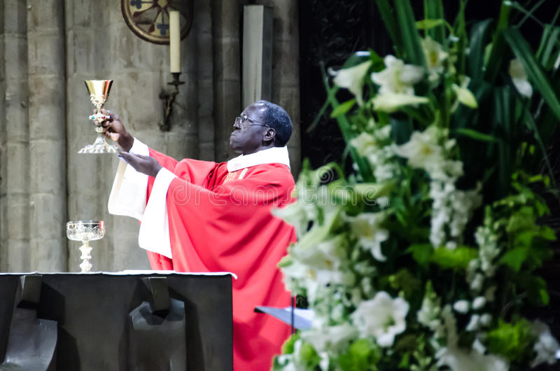 Notre Dame Cathedral Catholic Mass stock image