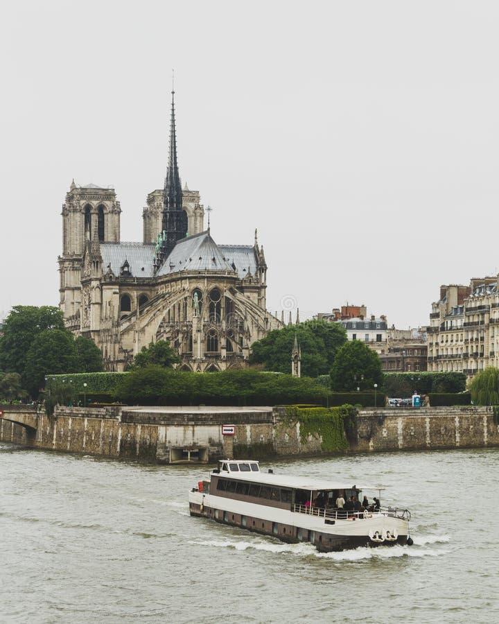 Notre Dame Cathedral dalla Senna con la barca a Parigi, Francia immagini stock