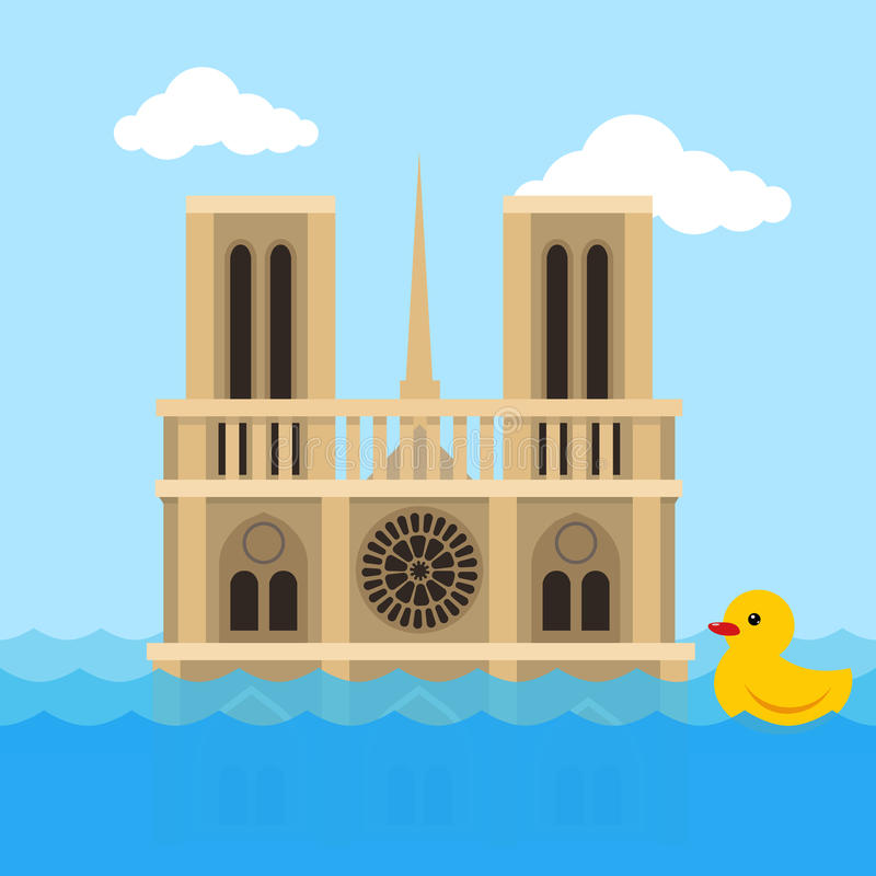 Notre Dame Cathedral flat vector stock illustration