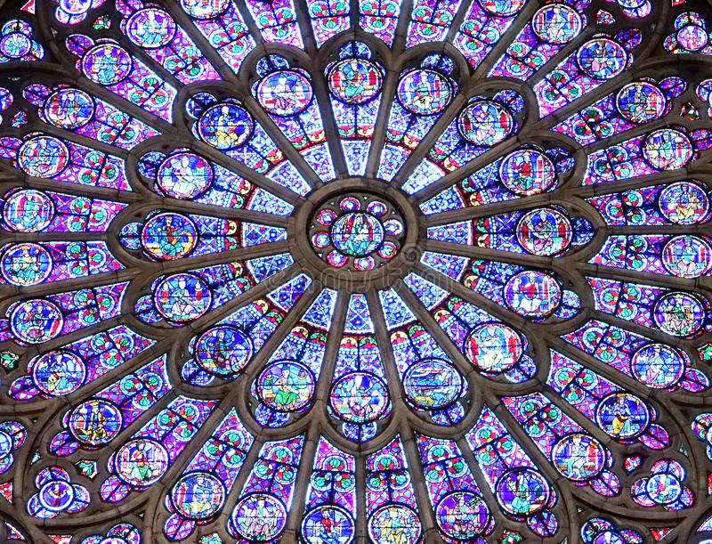 Notre Dame Cathedral North Rose Window arkivbild
