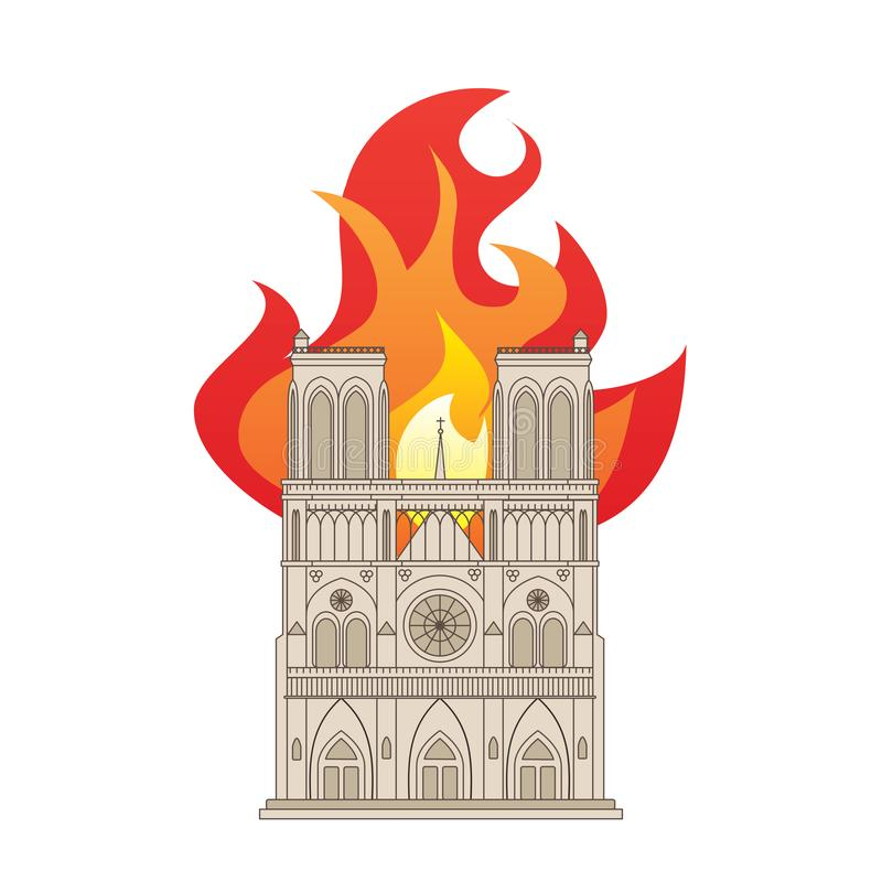 Notre Dame Cathedral op brand royalty-vrije stock foto's