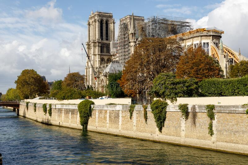 Rebuilding the landmark Notre Dame Cathedral royalty free stock photography