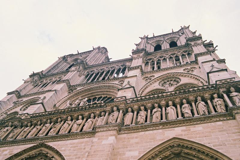 The Notre Dame Cathedral in Paris France stock photos