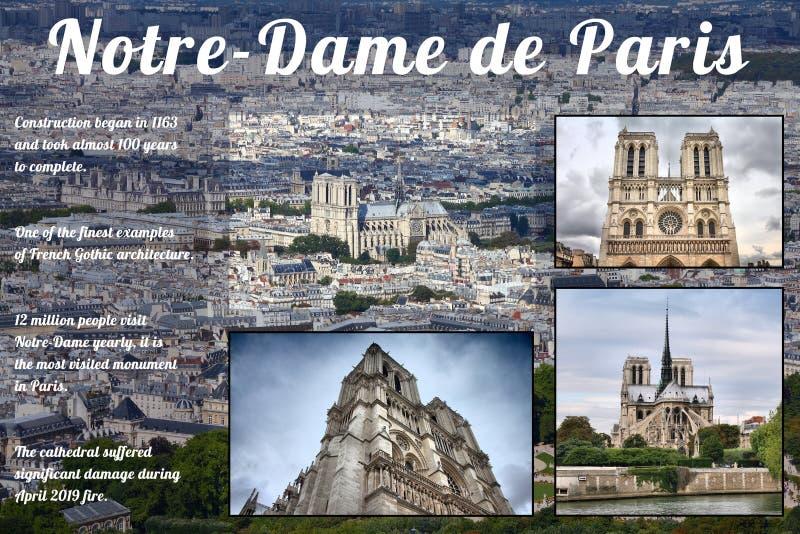 Notre-Dame de Paris. Notre-Dame Cathedral, Paris - info and history sheet for social media stock photo